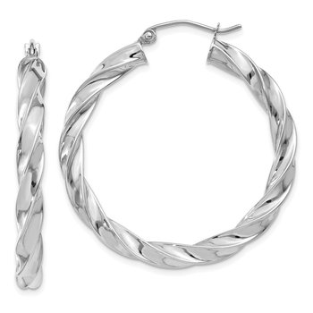 14k White Gold Light Twisted Hoop Earrings