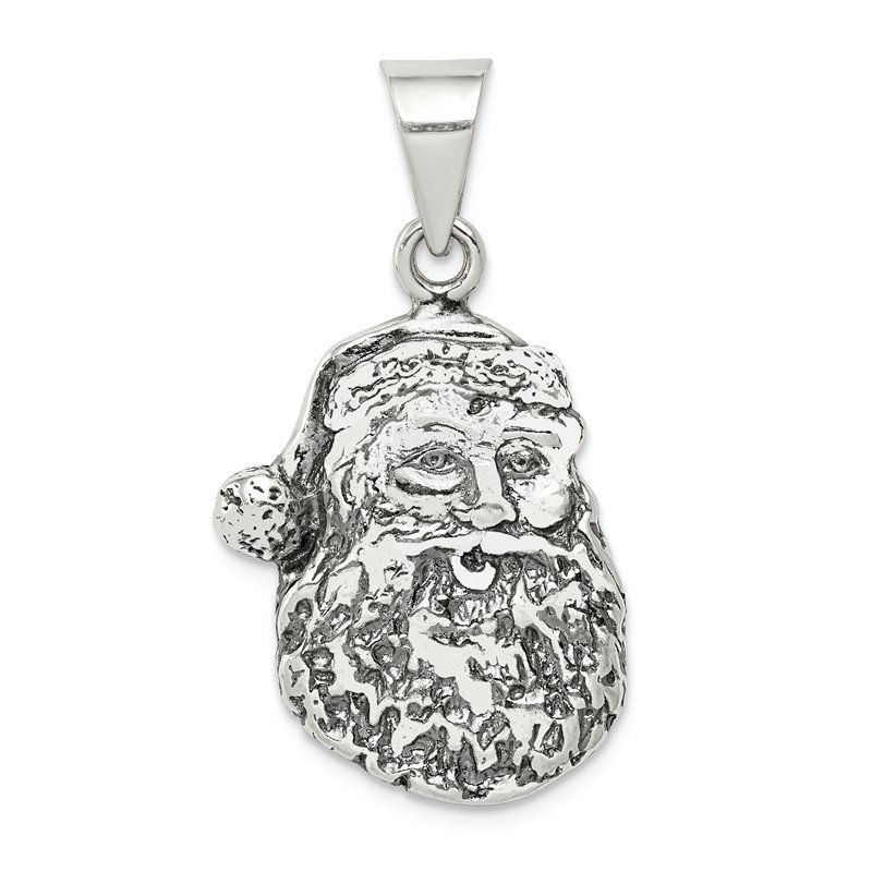 Quality Gold Sterling Silver Antiqued Santa Head Charm