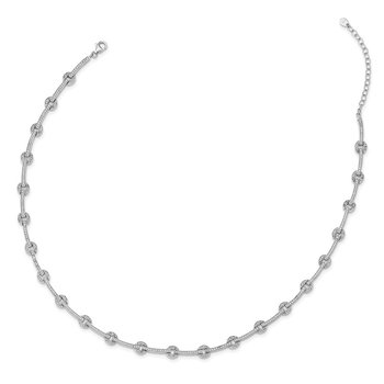 Sterling Silver Rhodium-plated CZ Circle/Bar Link w/2in ext Necklace
