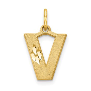 14KY Satin Diamond-cut Letter V Initial Charm