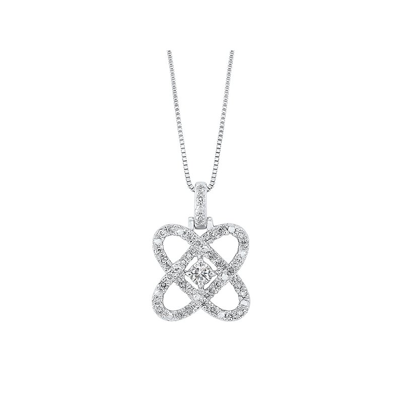 Gems One Diamond Infinity Love Heart Knot Pendant Necklace in Sterling Silver (1/4ctw)