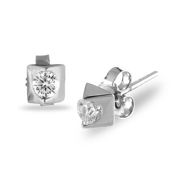 14K WG Diamond 'Forever' Solitaire Earring