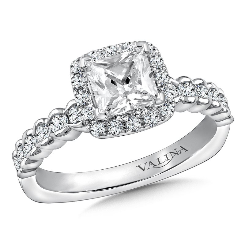 Valina Diamond Halo Engagement Ring Mounting in 14K White Gold (.47 ct. tw.)