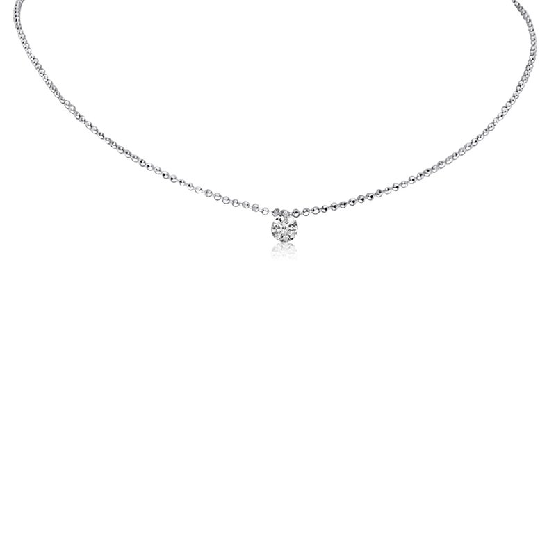"Color Merchants 14K White Gold .15 Single Dangle Diamond Necklace with 18"" Chain"