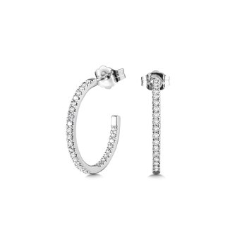 Pave C-Shaped Diamond Hoop Earrings