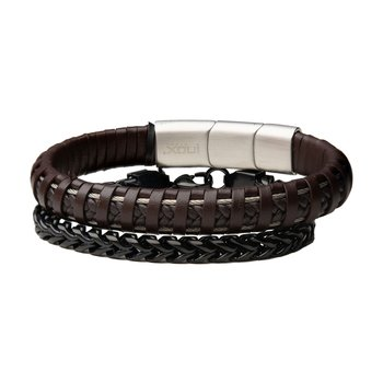 Brown Leather and Black Plated Rounded Franco Chain Stackable Bracelets