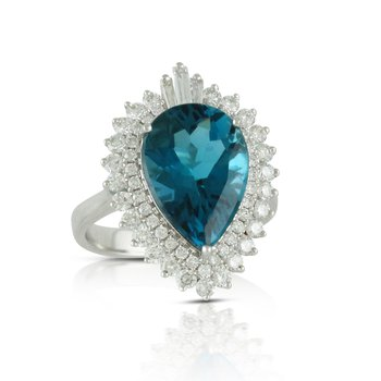 London Blue Topaz & Diamond Ring 18KW