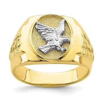 10K Two-Tone Eagle Mens Ring