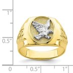 Quality Gold 10K Two-Tone Eagle Mens Ring
