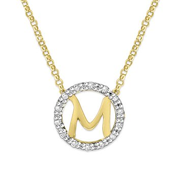 "Gold and Diamond Mini Halo ""M"" Initial Necklace"