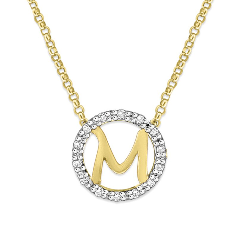 "KC Designs Gold and Diamond Mini Halo ""M"" Initial Necklace"