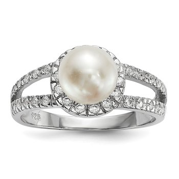 Sterling Silver RH 7-8mm Wt Button FWC Pearl CZ Ring