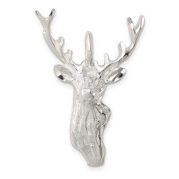 Sterling Silver Diamond Cut Deer Head Pendant