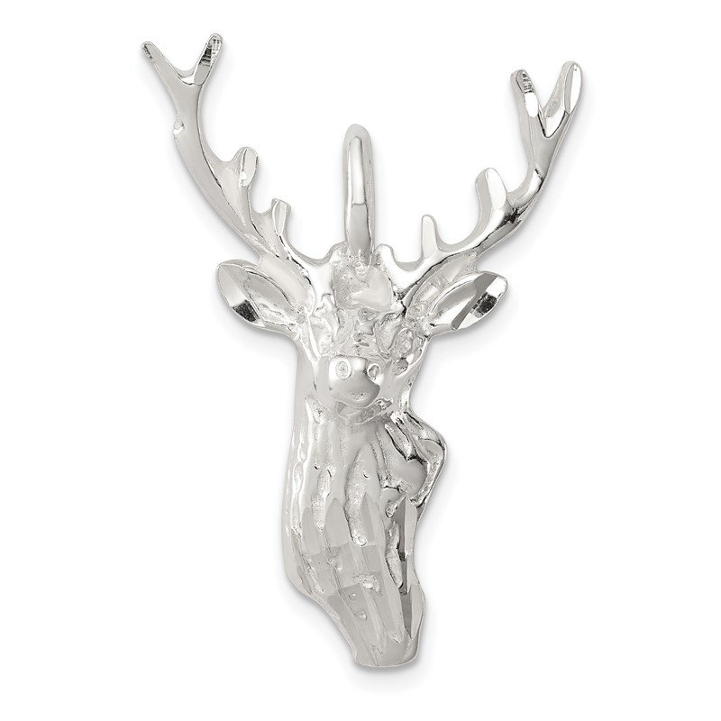 Quality Gold Sterling Silver Diamond Cut Deer Head Pendant