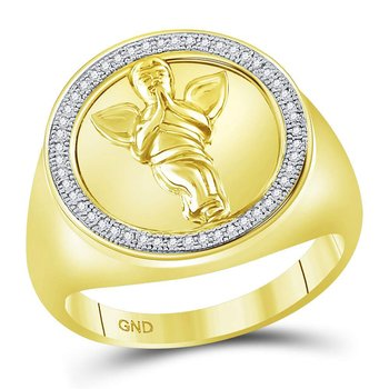 10kt Yellow Gold Mens Round Diamond Angel Cherub Circle Frame Ring 1/8 Cttw