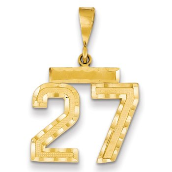 14k Medium Diamond-cut Number 27 Charm