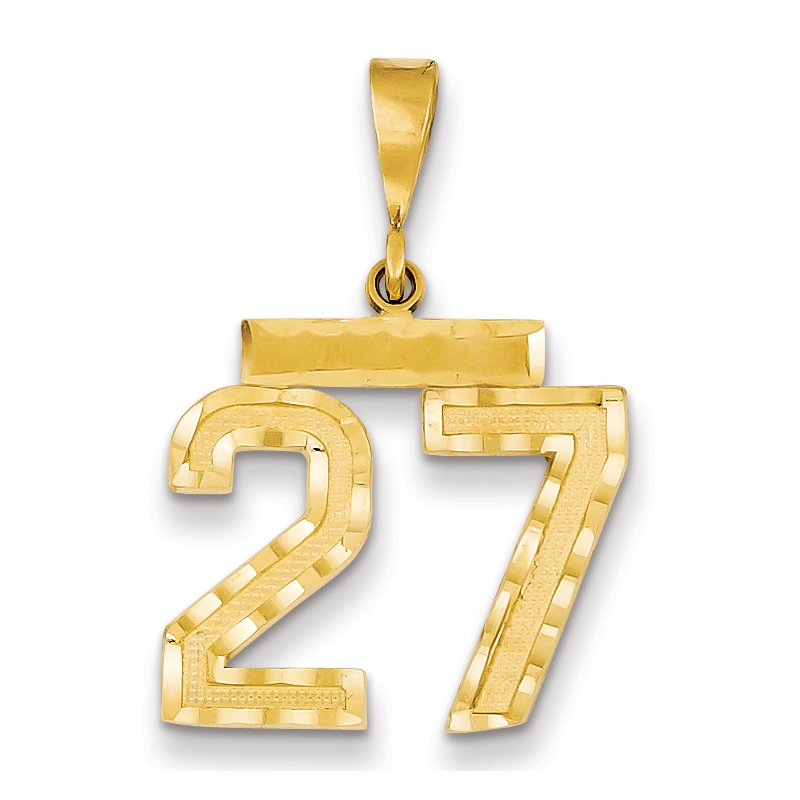 Quality Gold 14k Medium Diamond-cut Number 27 Charm