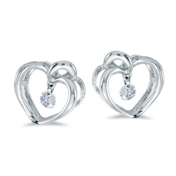 14K White Gold .16 ct Diamond Heart Dashing Diamonds Earrings