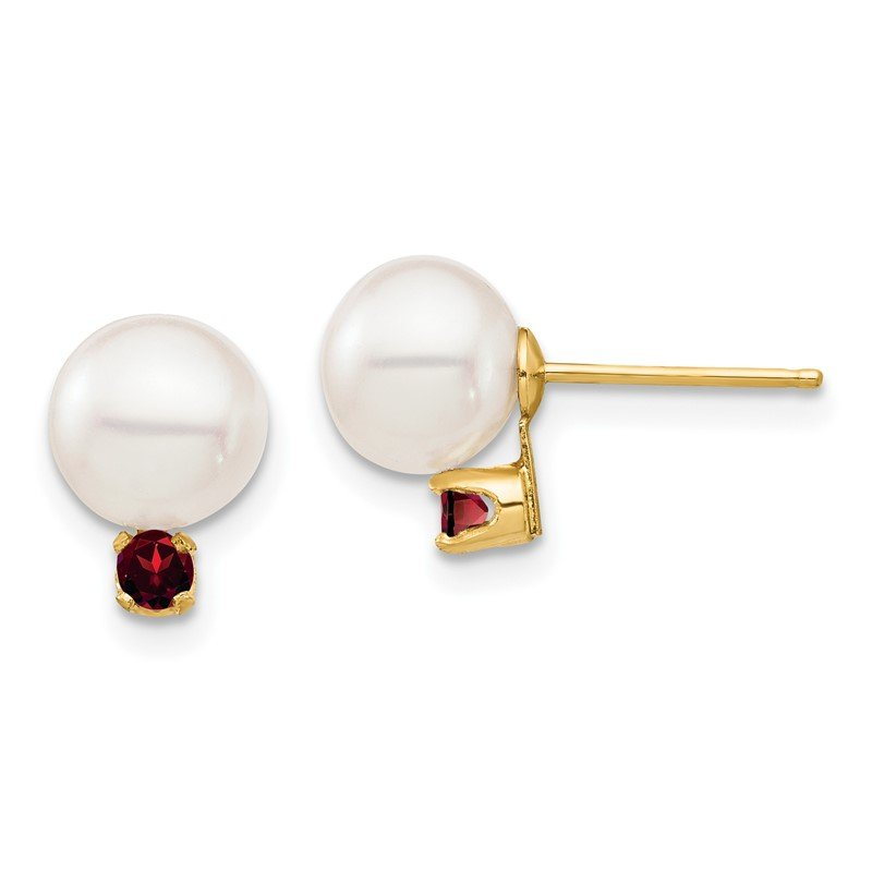 Quality Gold 14K 7-7.5mm White Round Freshwater Cultured Pearl Garnet Post Earrings