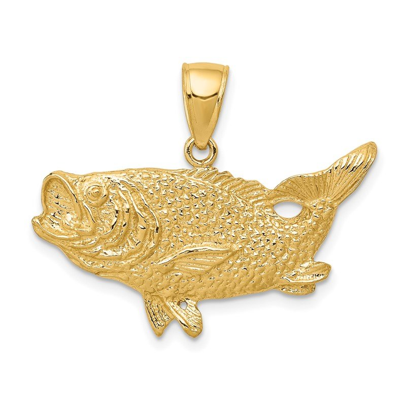 Quality Gold 14k Polished Open-Backed Bass Fish Pendant