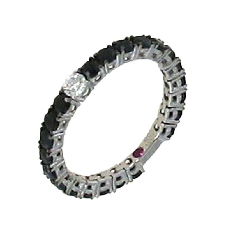 Roberto Coin 18Kt Gold Ring With Black Sapphires And Diamonds