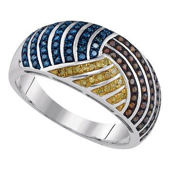 10kt White Gold Womens Round Multicolor Enhanced Diamond Fashion Ring 3/8 Cttw