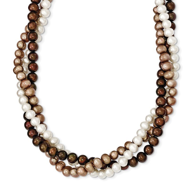 Quality Gold SS Rh-plated 5-6mm White, Brown, Beige FWC Pearl w/2in ext. Necklace