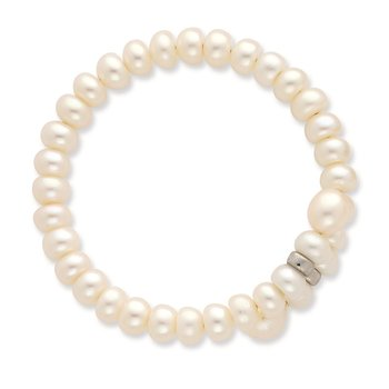 SS Rh-plated 5-6mm White, Brown, Beige FWC Pearl w/2in ext. Necklace
