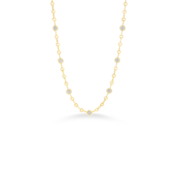 18Kt Gold Necklace With 7 Round Diamond Stations