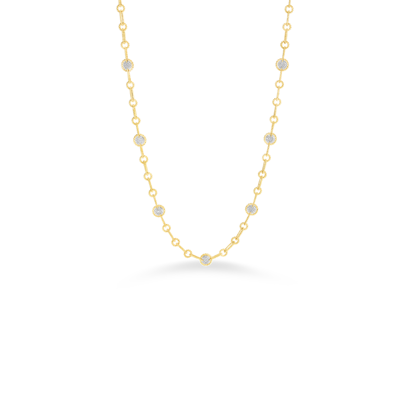 Roberto Coin Necklace With 7 Round Diamond Stations