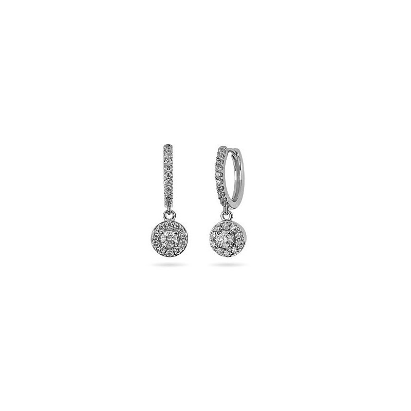 BB Impex 14K WG Diamond Circular Halo Forever Center of My Universe Round Hoop Dangling Earring
