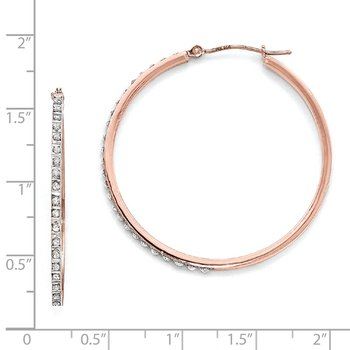 14k Rose Gold Diamond Fascination Round Hinged Hoop Earrings