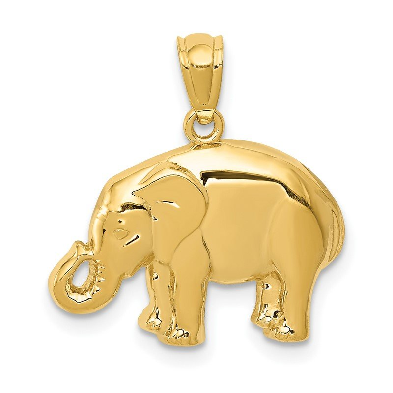 14k Polished Elephant Pendant