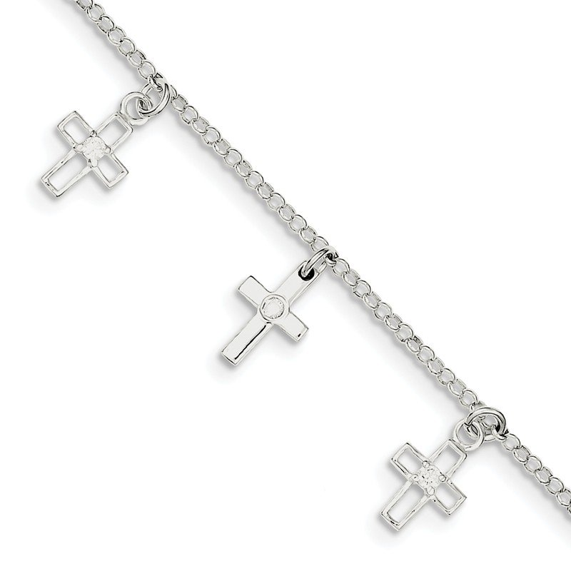 Quality Gold Sterling Silver & CZ Polished Cross Children's 5in Plus 1in. ext. Bracelet