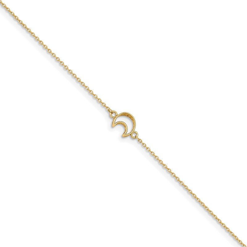 Quality Gold 14K Gold Textured and Polished Moon 9in Plus 1in ext. Anklet