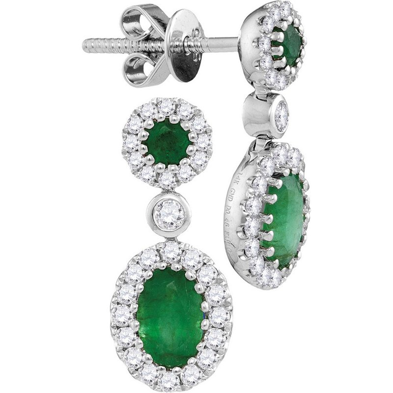 Gold-N-Diamonds 14kt White Gold Womens Oval Emerald Diamond Frame Dangle Earrings 1-1/2 Cttw
