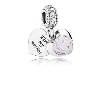 Mother's Rose, Pink Enamel Clear Cz