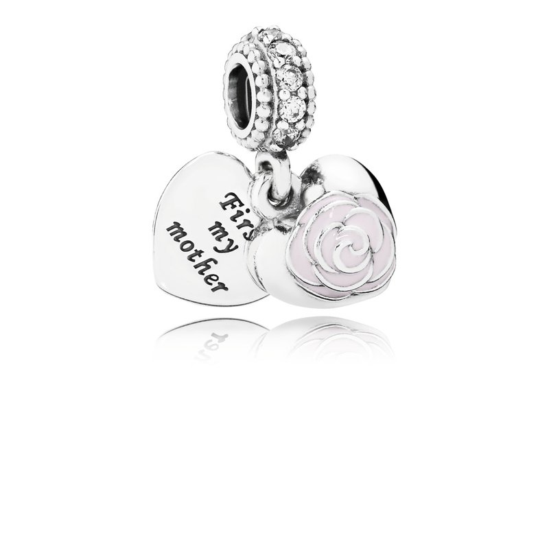 Pandora Mother's Rose, Pink Enamel Clear Cz