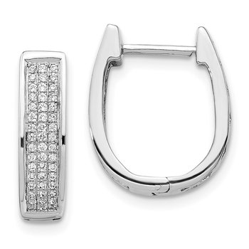 14k White Gold Diamond Medium Hinged Oval Hoop Earrings