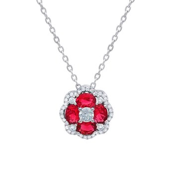 All I Adore Ruby and Diamond Cluster Pendant