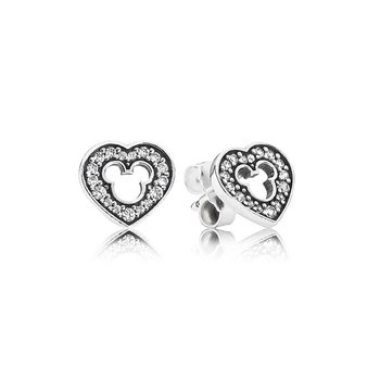 Disney, Mickey Silhouette Stud Earrings, Clear Cz