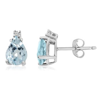 14k White Gold Pear Aquamarine and Diamond Earrings