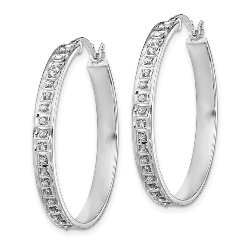Quality Gold Sterling Silver Diamond Mystique Round Hoop Earrings
