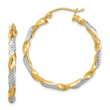 Sterling Silver RH-plated Vermeil D/C 3x30mm Twisted Hoop Earrings
