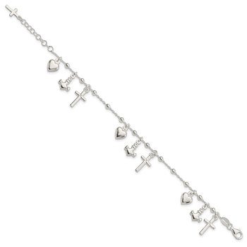 Sterling Silver Polished w/1in ext Cross Heart Anchor Bracelet