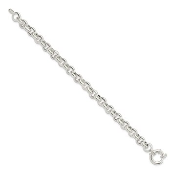 Sterling Silver Polished Fancy Rolo Link Bracelet