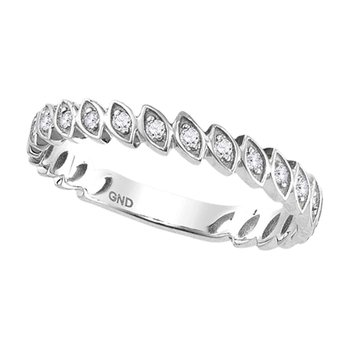 10kt White Gold Womens Round Diamond Ovals Stackable Band Ring 1/10 Cttw