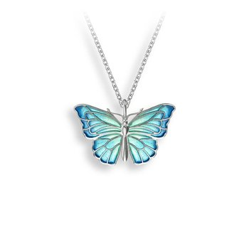 Blue Butterfly Necklace.Sterling Silver - Plique-a-Jour