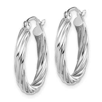 10k White Gold Polished 3mm Twisted Hoop Earrings