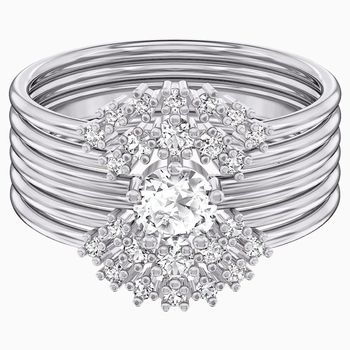 Penélope Cruz Moonsun Ring Set, White, Rhodium plated